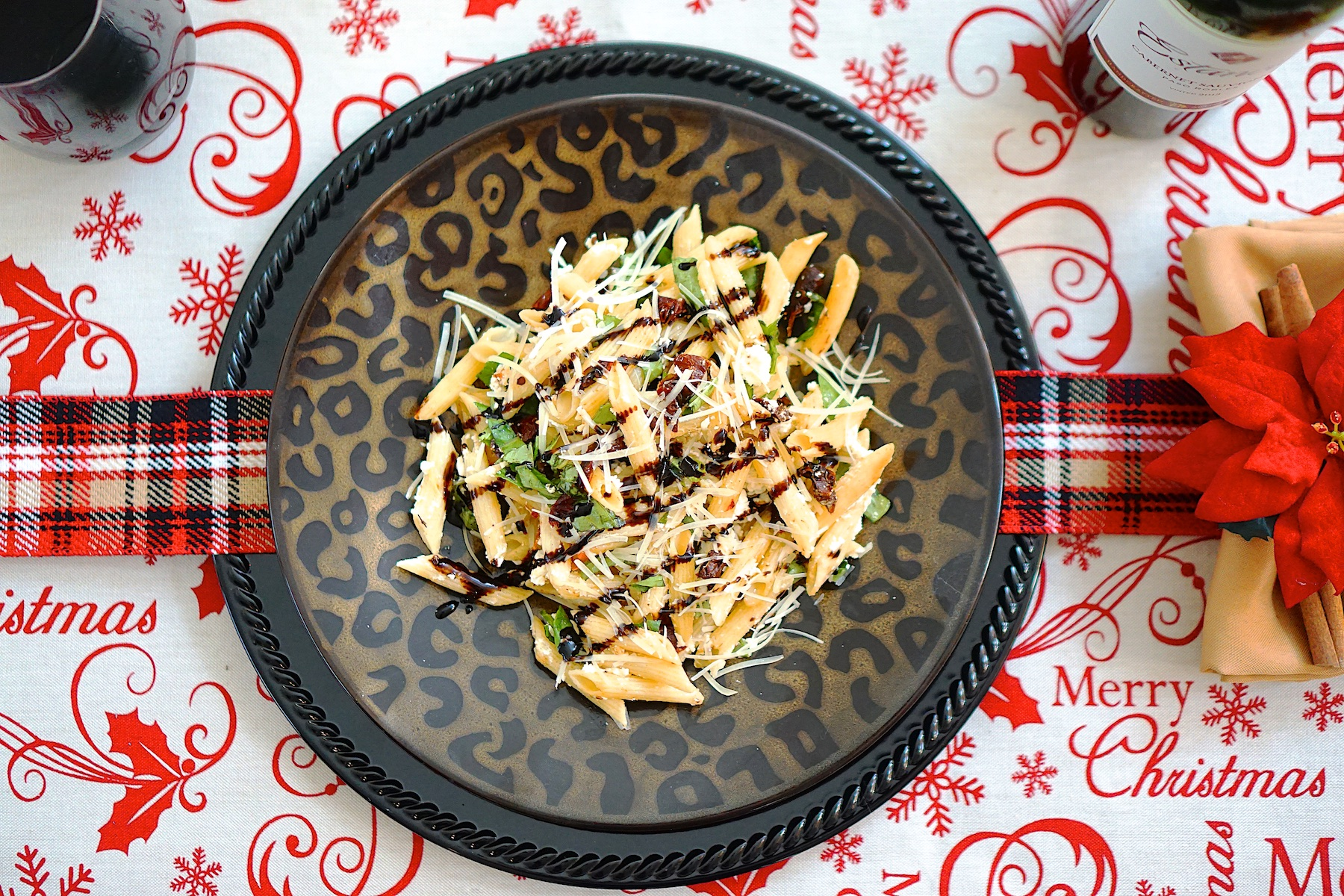 Easy Balsamic Glazed Penne with Sundried Tomatoes, Basil, and Goat Cheese