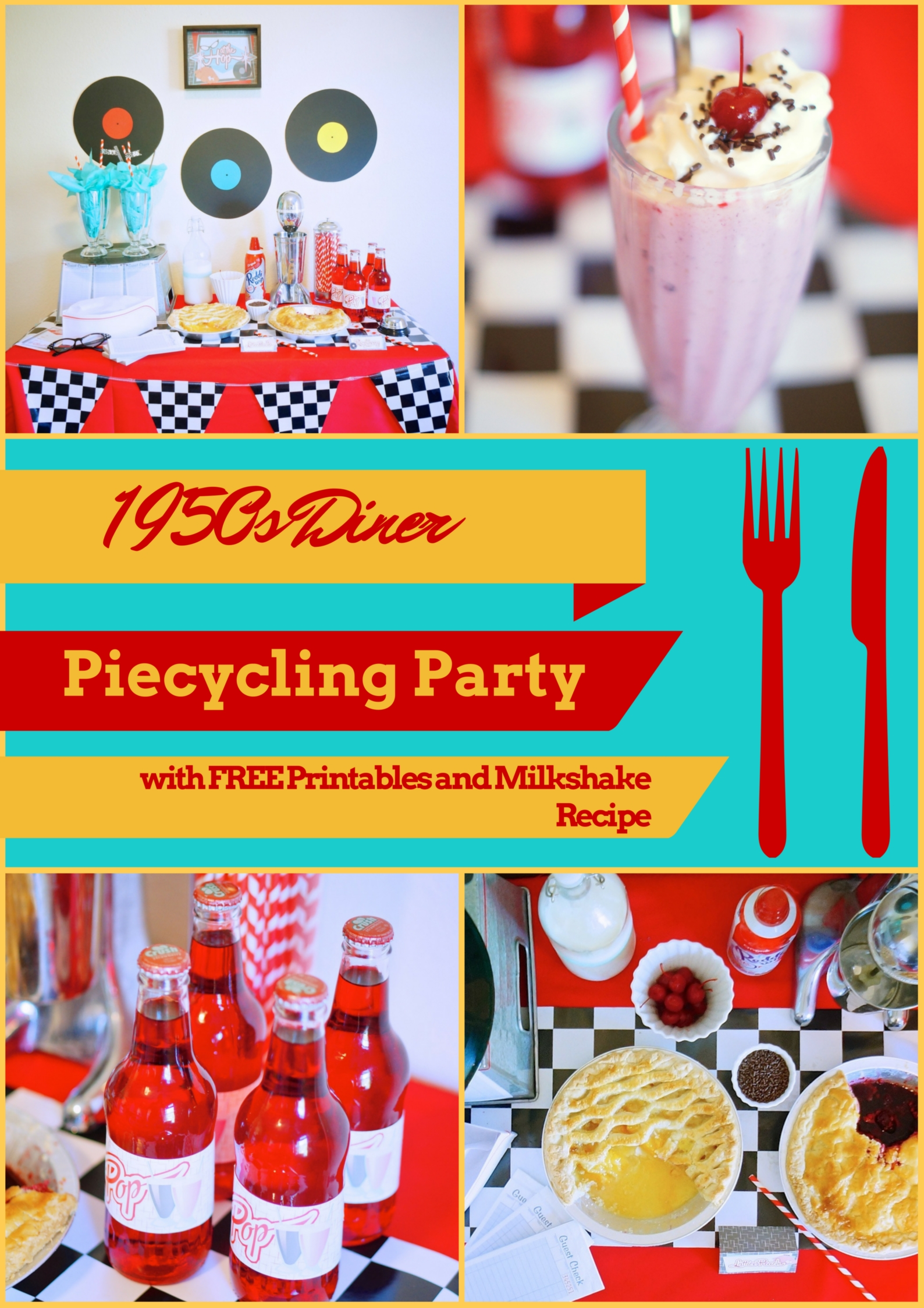 1950s Diner Theme Piecyling Party with FREE Printables
