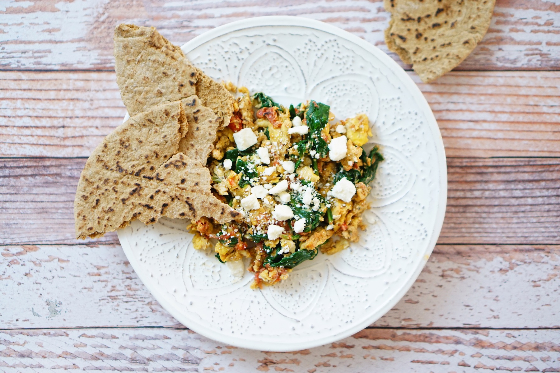 Greek Eggs with Spinach and Feta - TheFebruaryFox.com