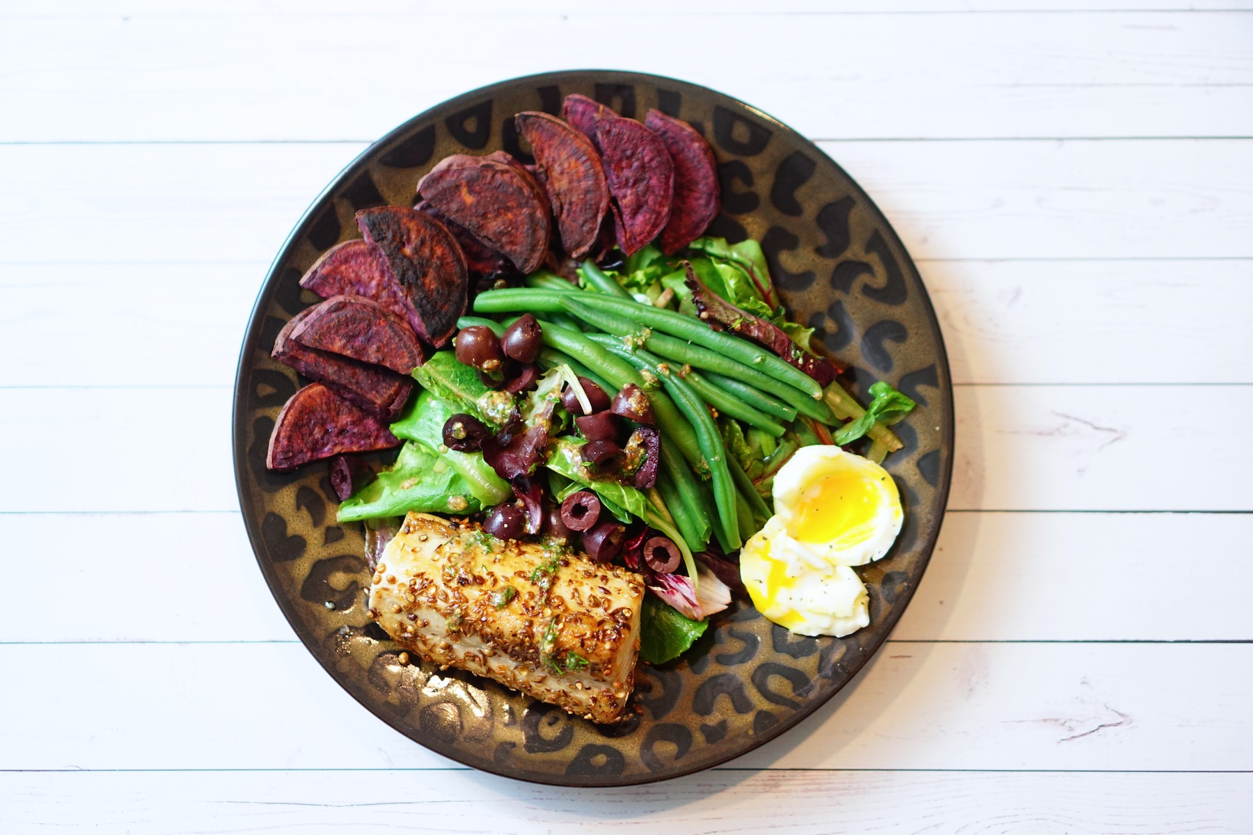 Seared Albacore Tuna, Green Beans, Soft Cooked Egg, and Herb Vinaigrette