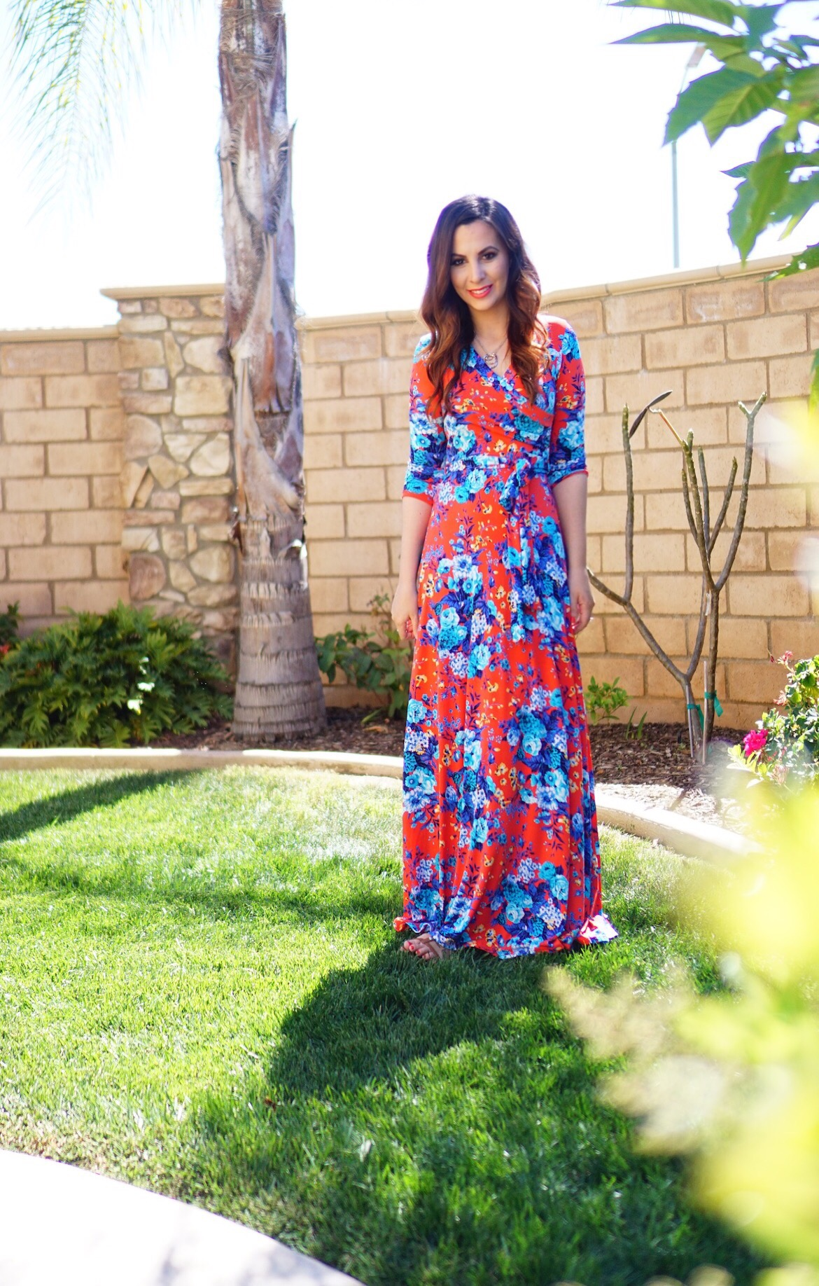 PinkBlush Red Floral Draped 3/4 Sleeve Maxi Dress - TheFebruaryFox.com