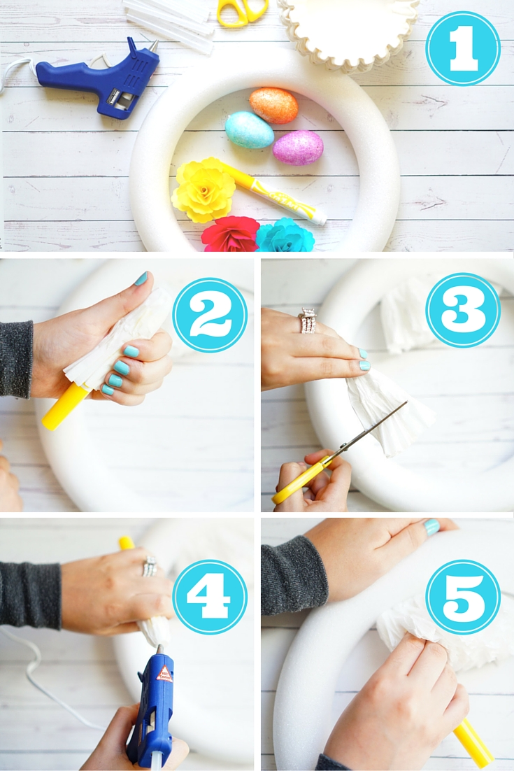 DIY Coffee Filter Easter Wreath - TheFebruaryFox.com